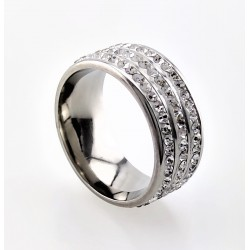 Brede Strass Ring in Zilver...