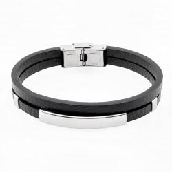 Dubbele Zwart Leren Armband...