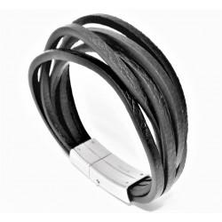 Interlaced Zwarte Leer Armband