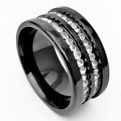 Zwarte Stalen Ring met...