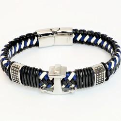 Gevlochten Blauw/Wit/Zwart...