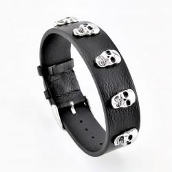 Zwarte Brede Leren Armband...