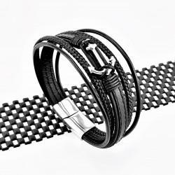 Zwart Leren Armband met...