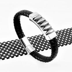 Stoere Zwart Leren Armband...