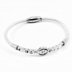 Zilver Leren Armband met...