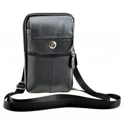 Verticaal Zwart Leren Bag -...