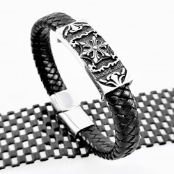 Zwart Heren Leren Armband...