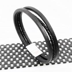 Zwarte Unisex Leren Armband...