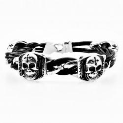 Zwarte Heren Leren Armband...