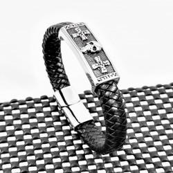 Heren-Zwarte Leren Armband...