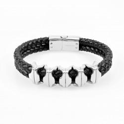 Heren Zwarte Leren Armband...