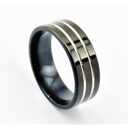 Klassieke Zwart RVS Ring...