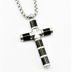 Zilver-Zwart RVS Kruis met...