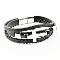Zwarte Leren Armband met...
