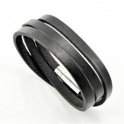 Zwart Leren Wikkelarmband
