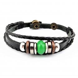 Multi Leren Armband Groen