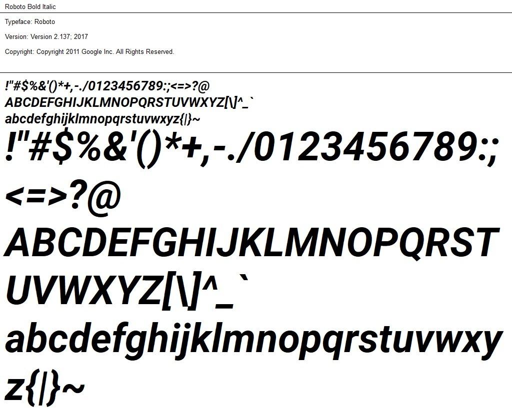 Nr.01 - Roboto Bold Italic
