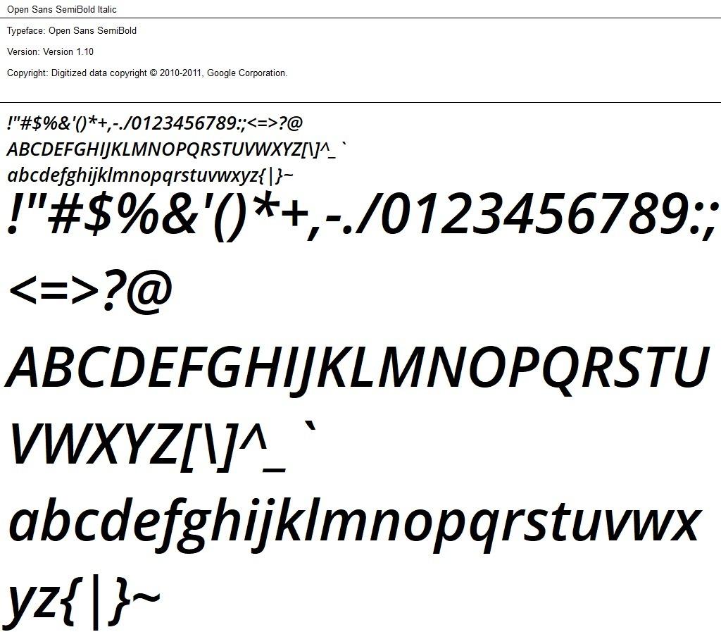 Nr.03 - Open Sans SemiBold Italic